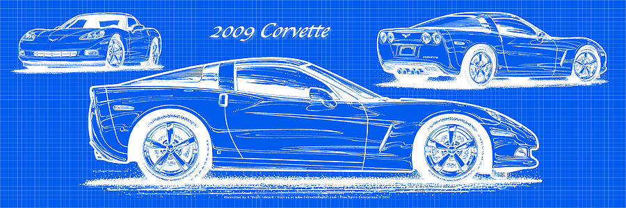 2009 C6 Corvette Blueprint Drawing  - 2009 C6 Corvette Blueprint Fine Art Print