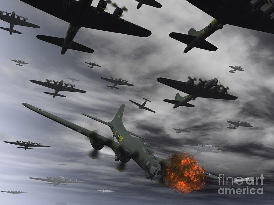 A B-17 Flying Fortress Is Set Ablaze Digital Art  - A B-17 Flying Fortress Is Set Ablaze Fine Art Print