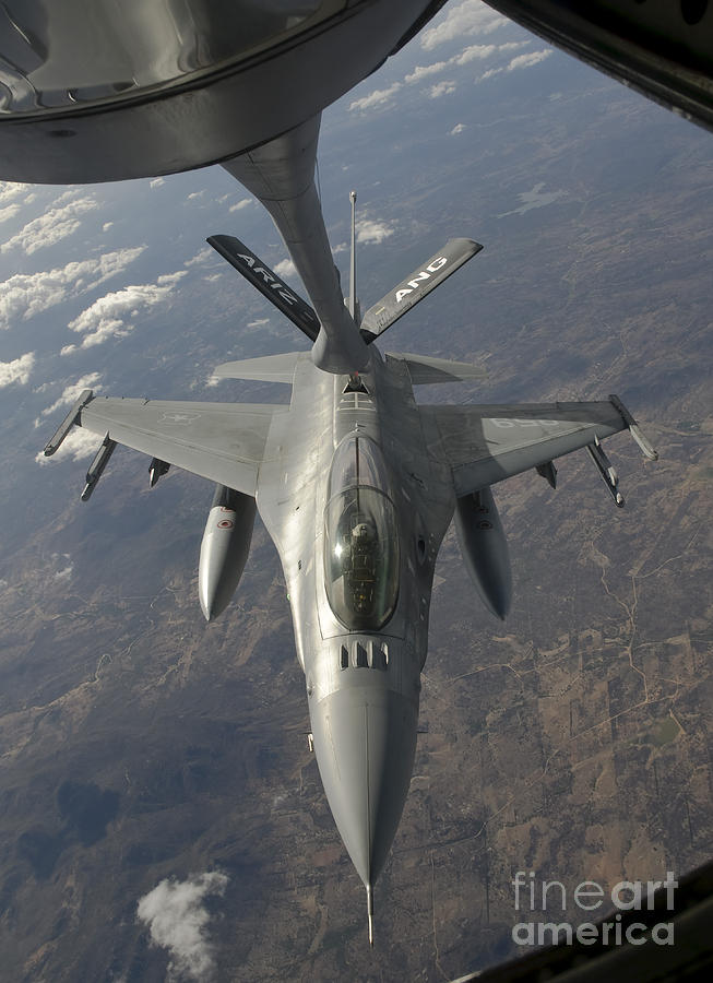 A Chilean Air Force F-16 Refuels Photograph