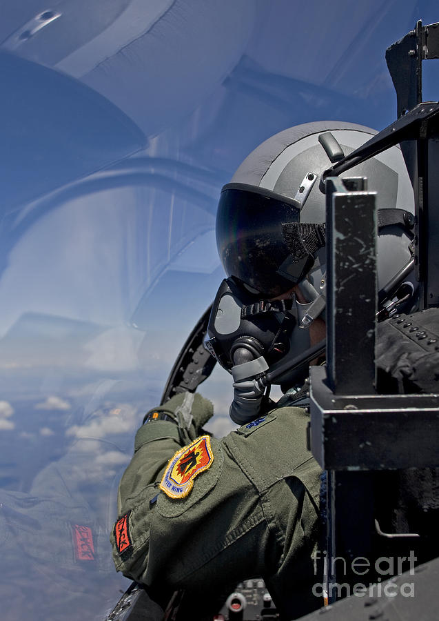 A F-15 Pilot  Looks Over At His Wingman Photograph