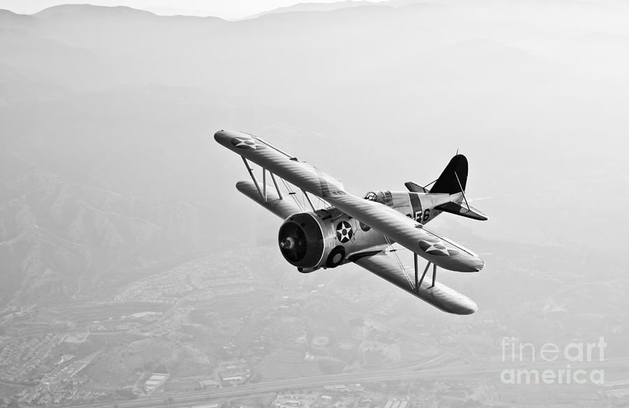 A Grumman F3f Biplane In Flight Photograph