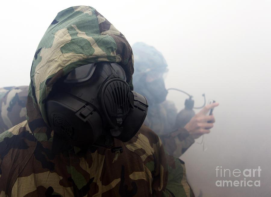 A Marine Wearing A Gas Mask Photograph