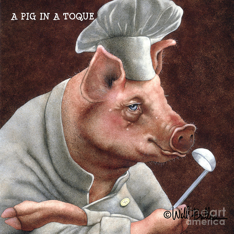 A Pig In A Toque... Painting  - A Pig In A Toque... Fine Art Print