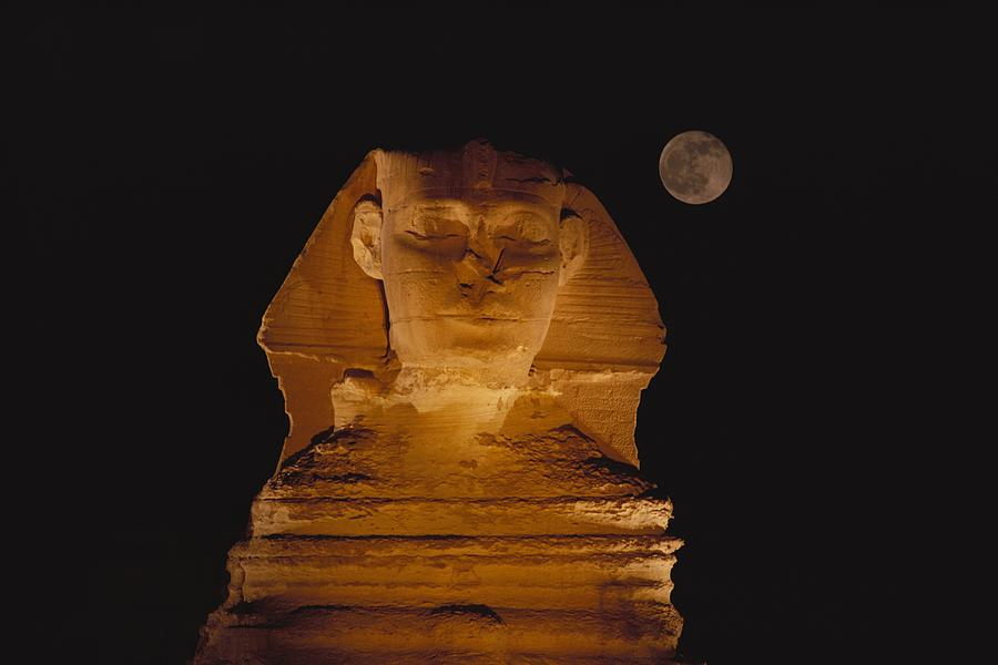 A View Of The Great Sphinx At Night Photograph
