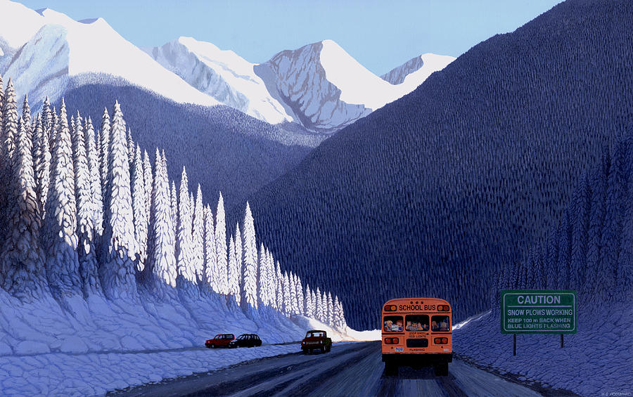 A Winter Drive In British Columbia Painting  - A Winter Drive In British Columbia Fine Art Print