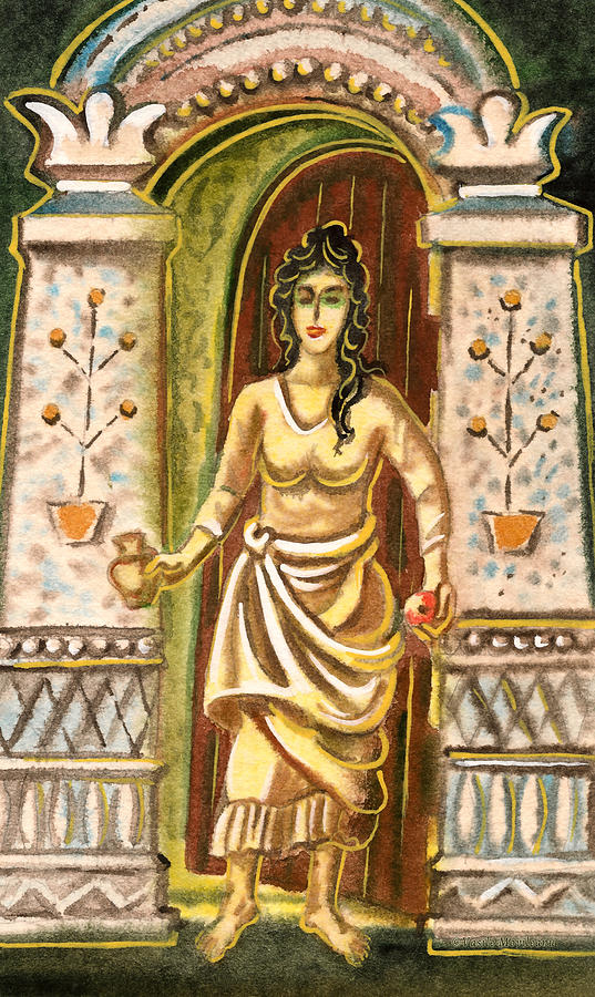 A Woman At The Gateway - Welcome Symbol Painting  - A Woman At The Gateway - Welcome Symbol Fine Art Print