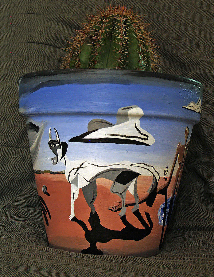 Abstract-surreal Cactus Pot B Ceramic Art