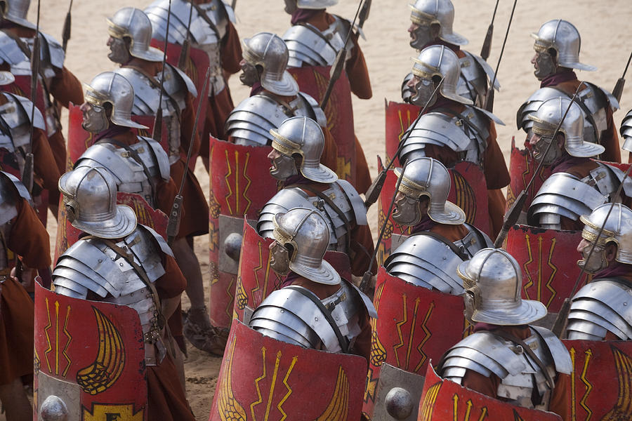 Actors Re-enact A Roman Legionaries Photograph