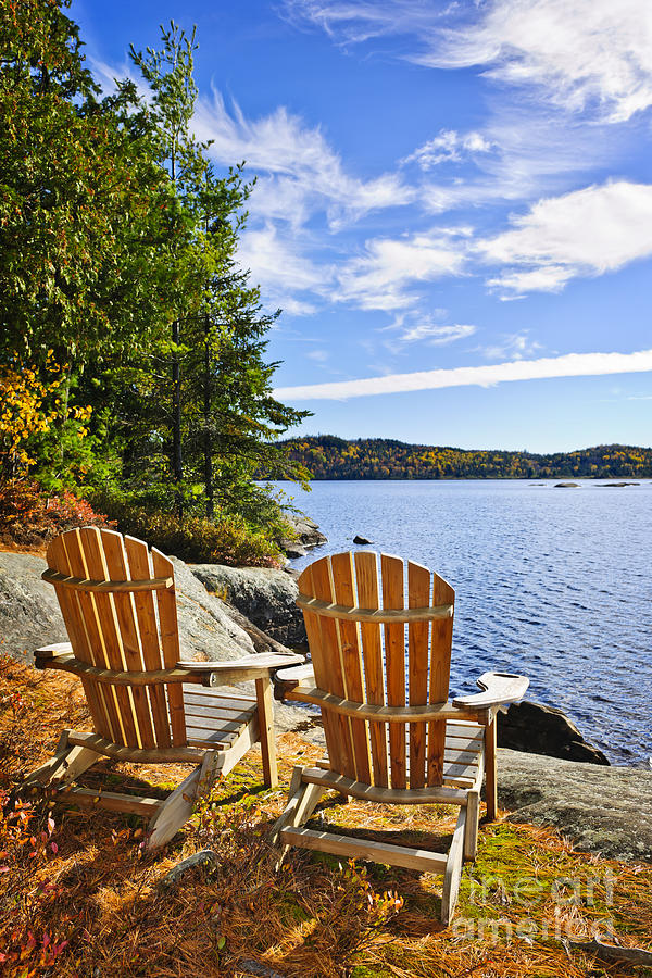 Adirondack Chairs At Lake Shore Photograph