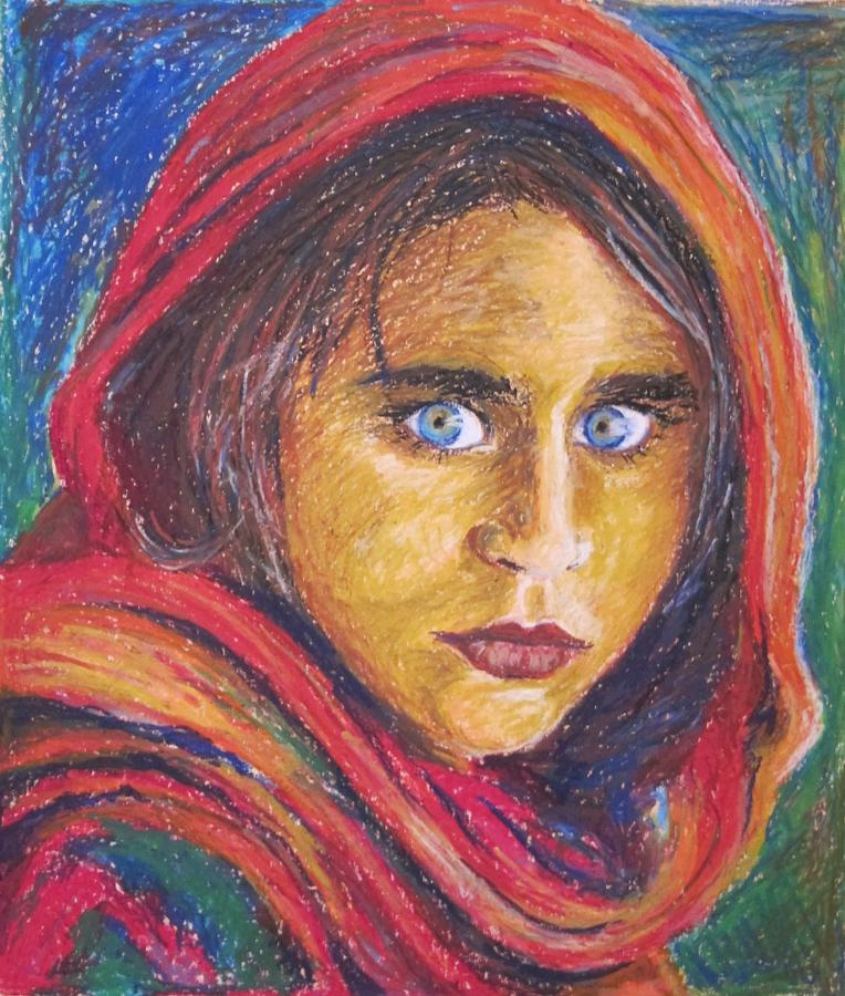 Portret Painting - Afganistan Girl by Ema Dolinar Lovsin