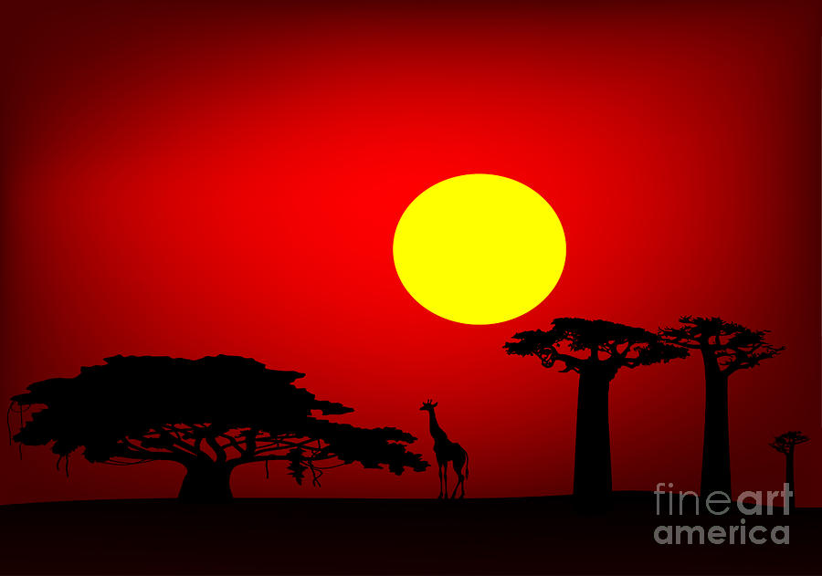 Africa Sunset Digital Art  - Africa Sunset Fine Art Print