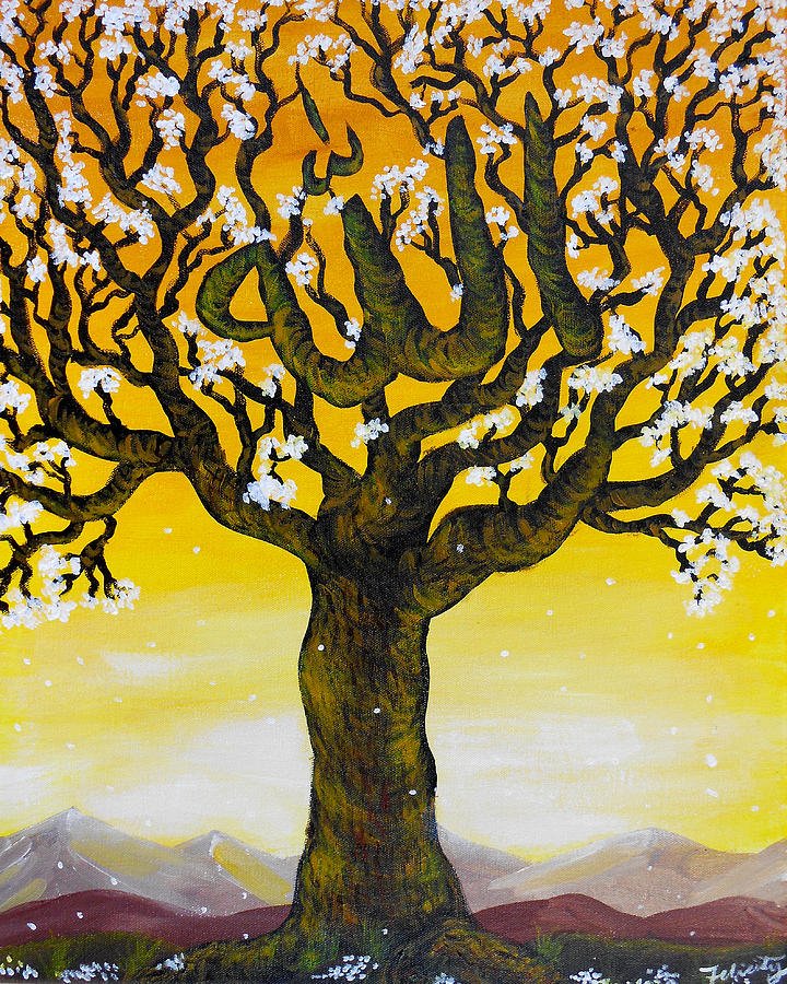 Allahs Name In A Tree Painting  - Allahs Name In A Tree Fine Art Print