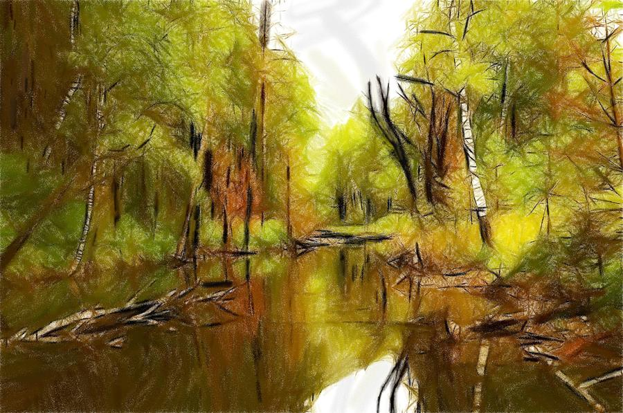 River Water Wood Forest Tree Trees Landscape Nature Green Reflection Expressionism Pastel - Along The River by Stefan Kuhn