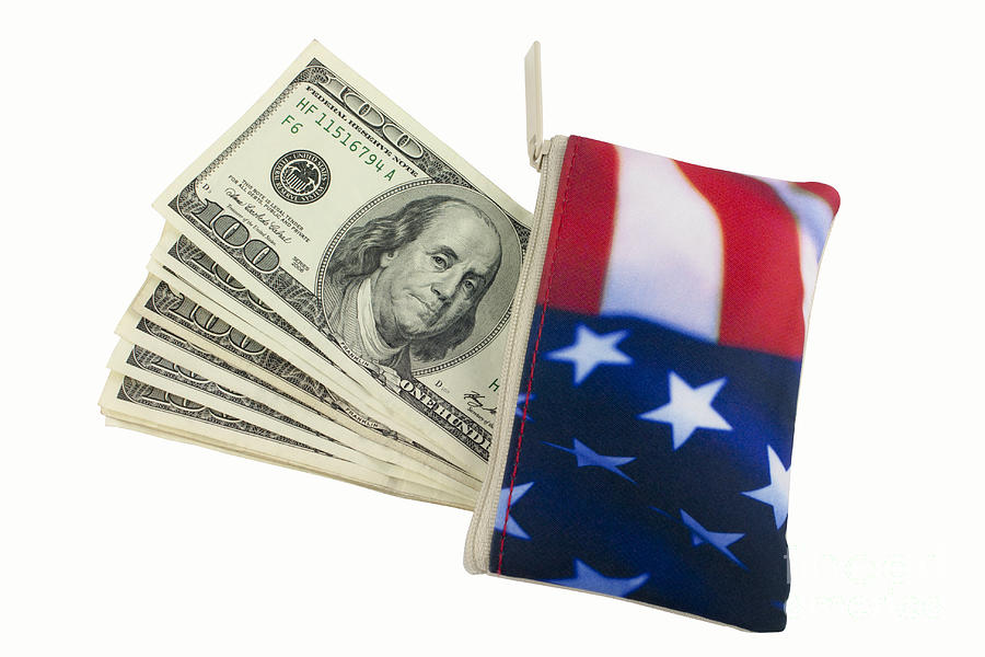 American Flag Wallet With 100 Dollar Bills Photograph  - American Flag Wallet With 100 Dollar Bills Fine Art Print