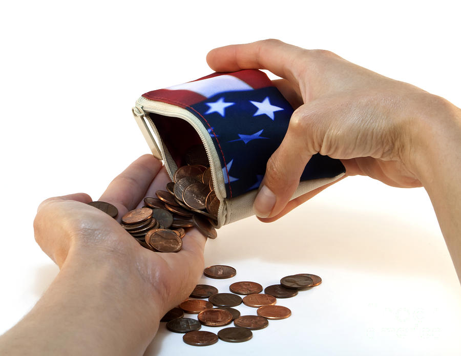 American Flag Wallet With Coins And Hands Photograph