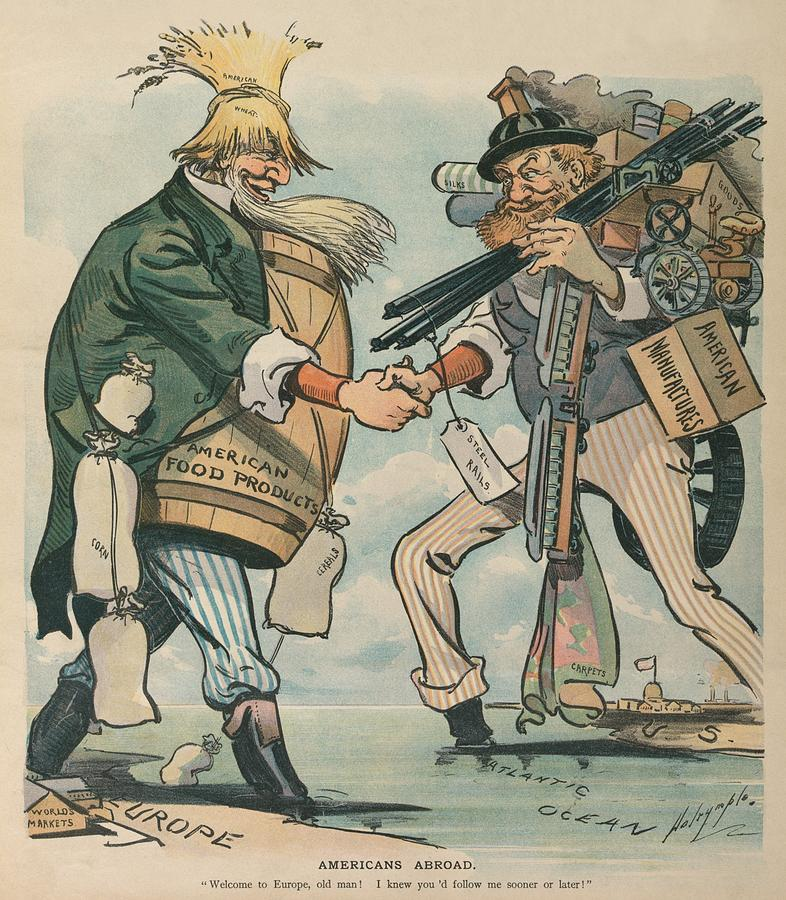 Americans Abroad. Cartoon Captioned Photograph