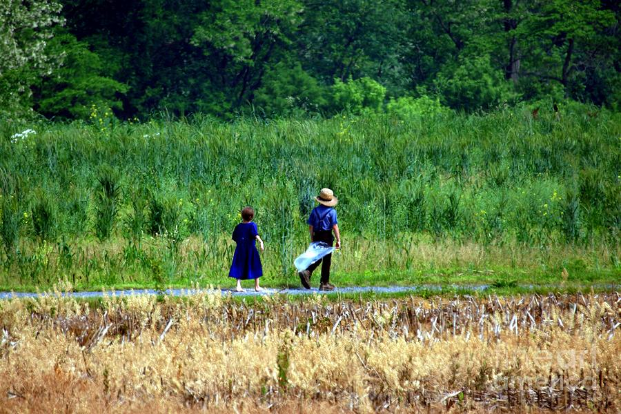 Amish Brother And Sister Photograph  - Amish Brother And Sister Fine Art Print
