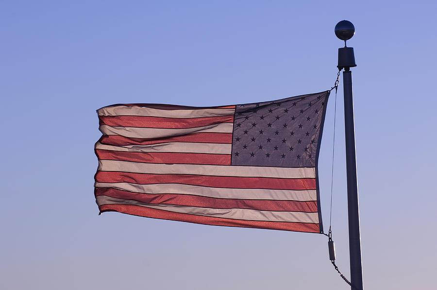 An American Flag At Sunrise Photograph