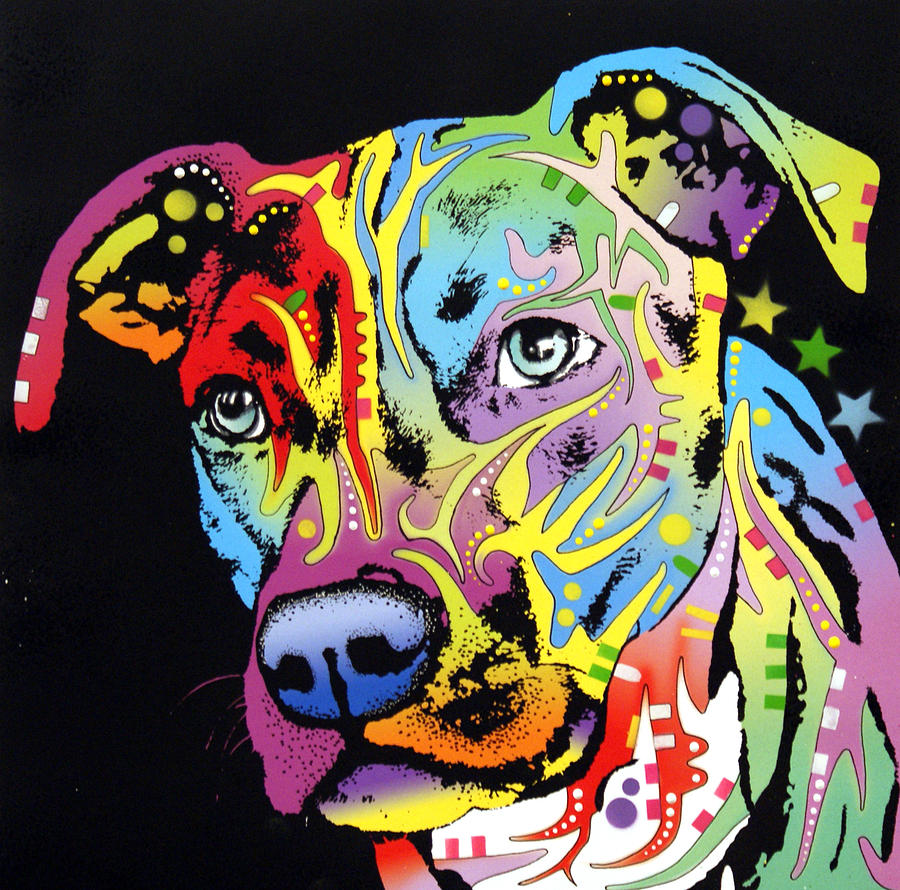 Angel Pit Bull Painting  - Angel Pit Bull Fine Art Print