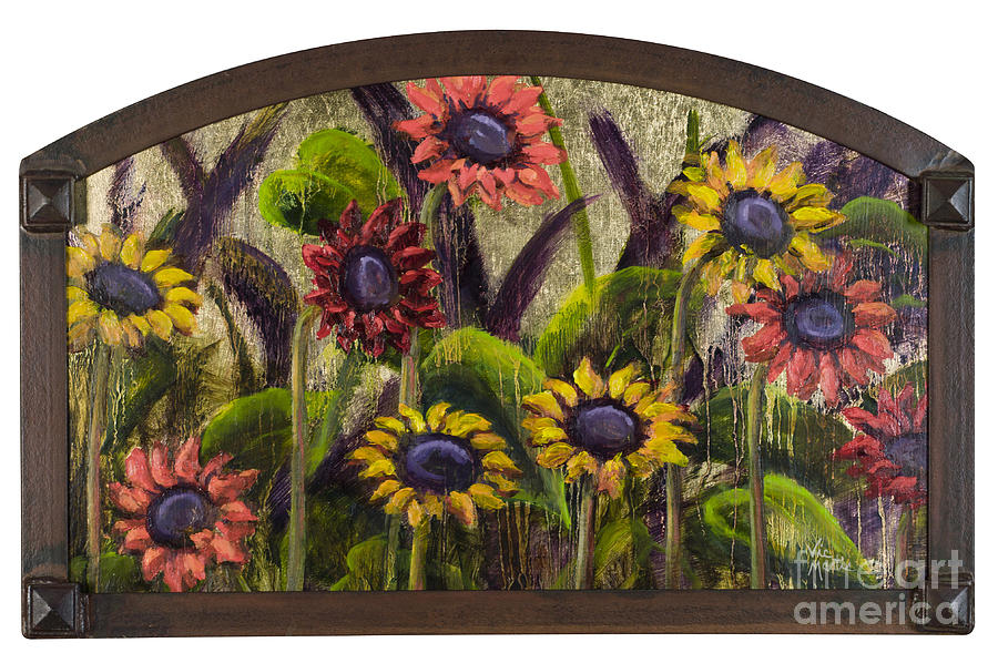 Arched Sunflowers With Gold Leaf By Vic Mastis Painting  - Arched Sunflowers With Gold Leaf By Vic Mastis Fine Art Print