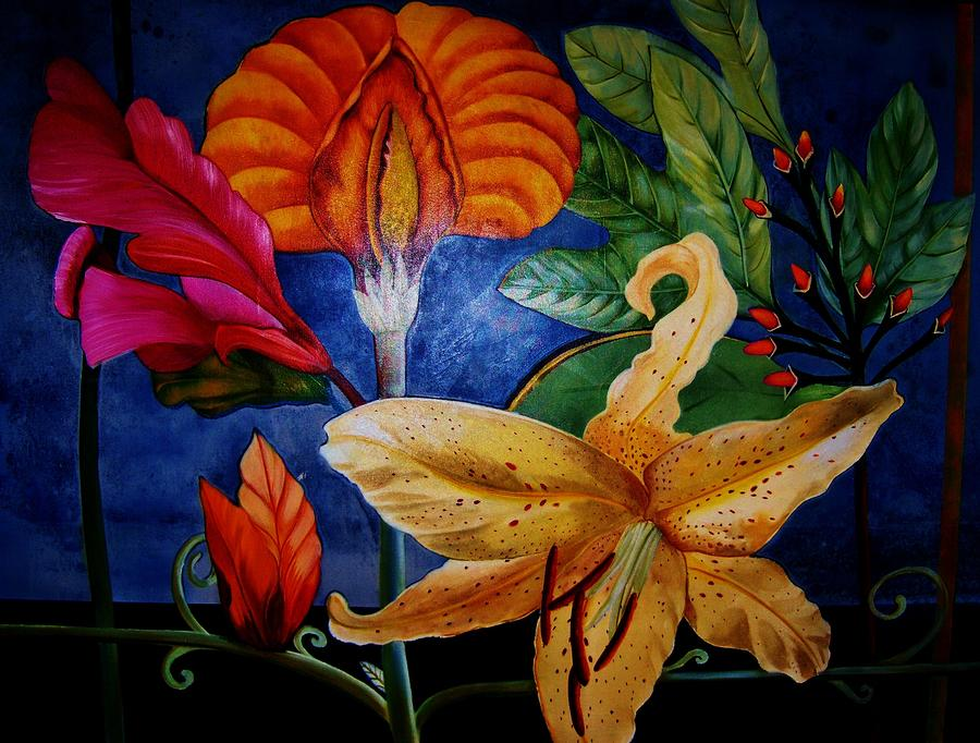 Art Deco Flowers 4 Painting  - Art Deco Flowers 4 Fine Art Print