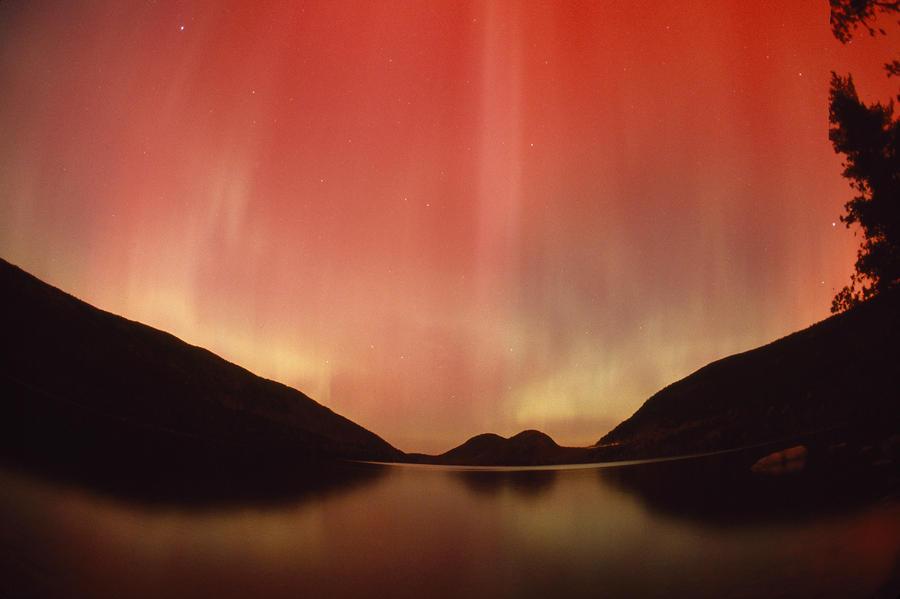 Aurora Borealis Over Jordan Pond Photograph
