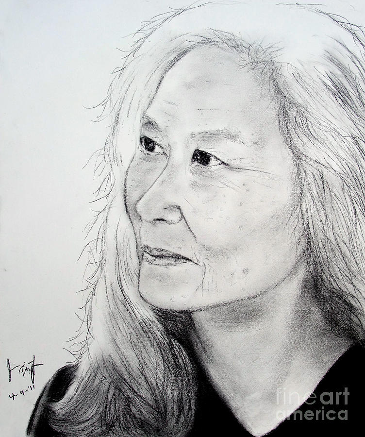 Author And Activist Maxine Hong Kingston Drawing 