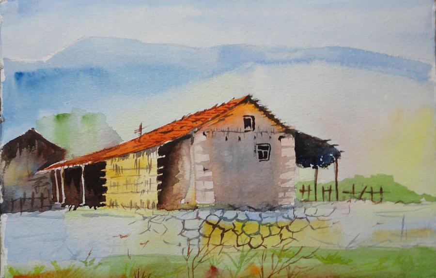 Landscape Painting - Bamboo House by Vijayendra Bapte