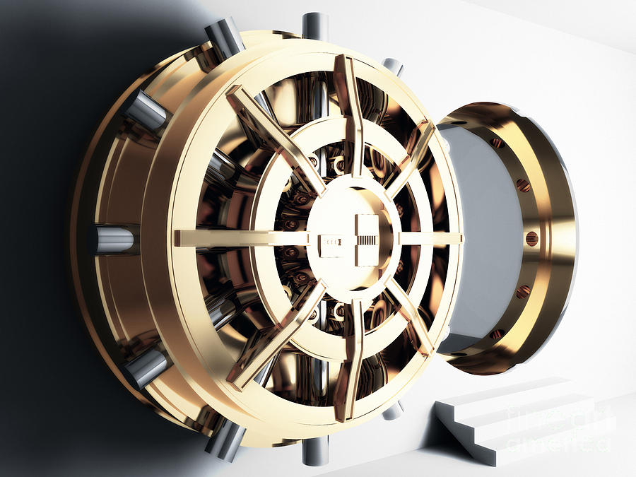 Bank Vault Door 3d Photograph  - Bank Vault Door 3d Fine Art Print
