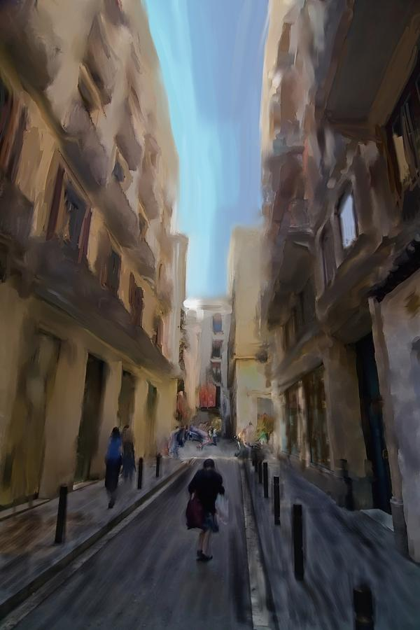 Barcelona Street Scene Digital Art
