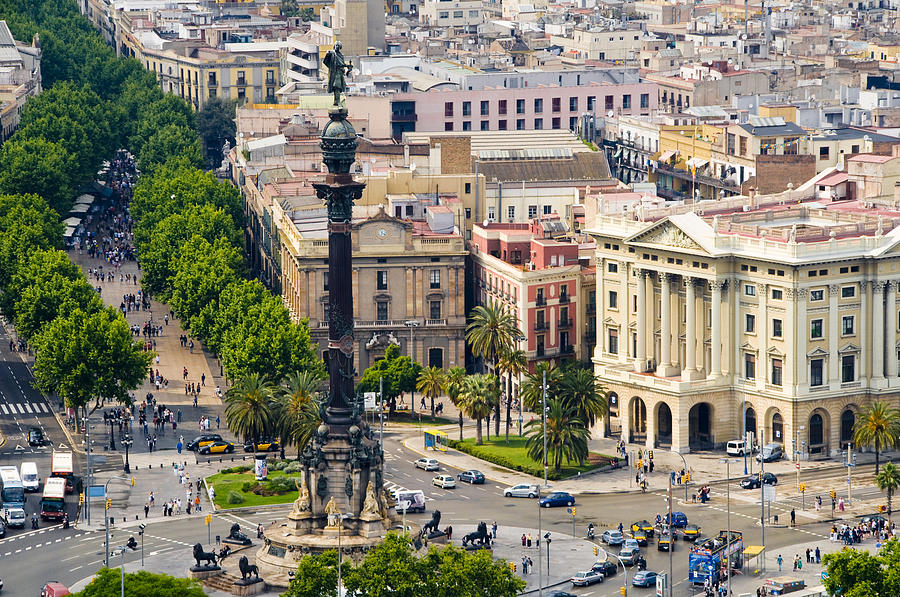 Barcelona With Tree-lined Las Ramblas Photograph