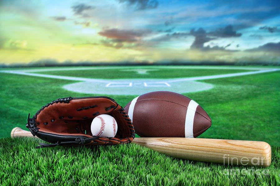 Baseball  Bat  And Mitt In Field At Sunset Photograph