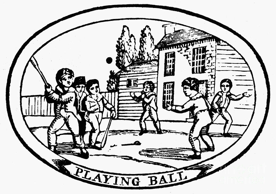Baseball Game, 1820 Photograph  - Baseball Game, 1820 Fine Art Print
