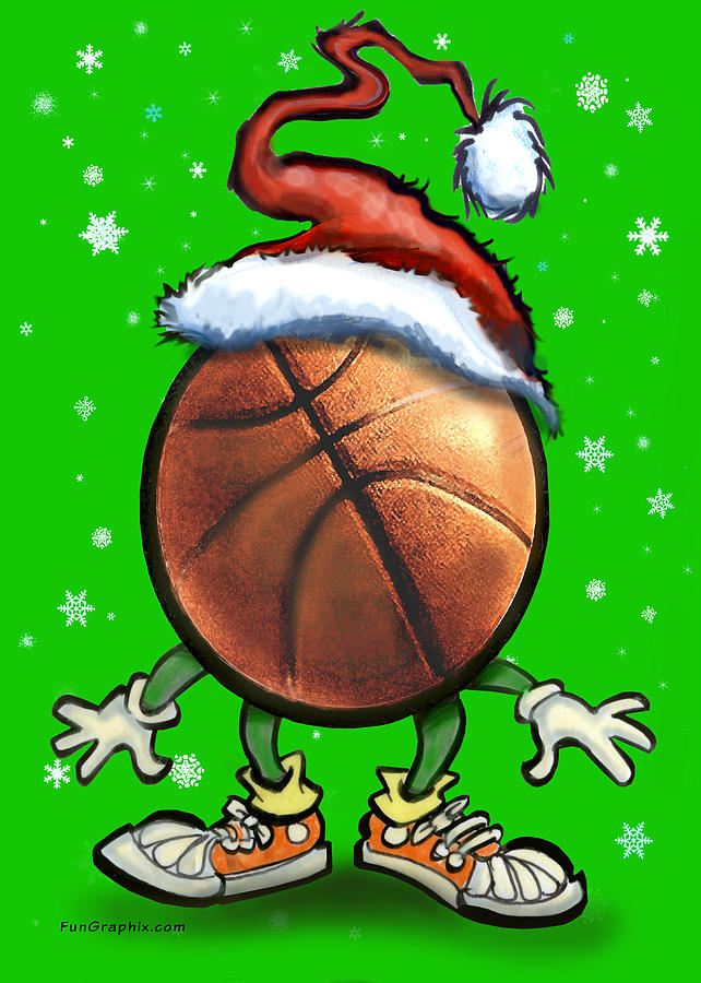 Basketball Christmas Greeting Card  - Basketball Christmas Fine Art Print