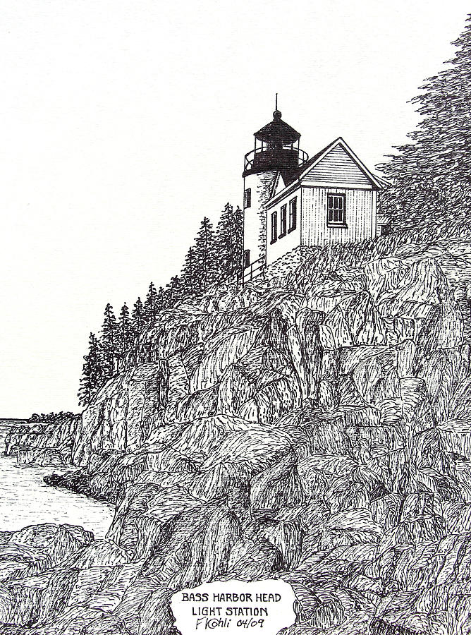 Bass Harbor Head Light Drawing  - Bass Harbor Head Light Fine Art Print