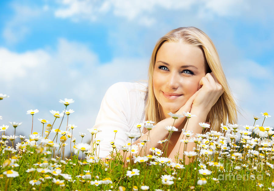 Beautiful Woman Enjoying Daisy Field And Blue Sky Photograph  - Beautiful Woman Enjoying Daisy Field And Blue Sky Fine Art Print