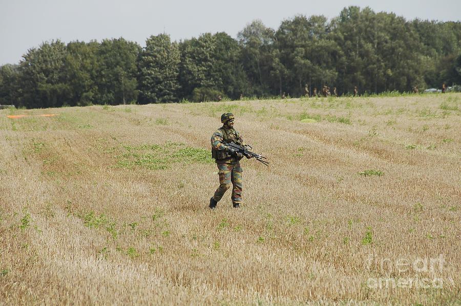 Belgian Paratroopers Proceeding Photograph