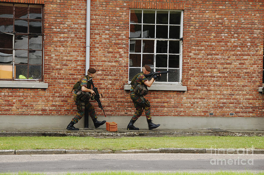 Belgian Soldiers On Patrol Photograph  - Belgian Soldiers On Patrol Fine Art Print