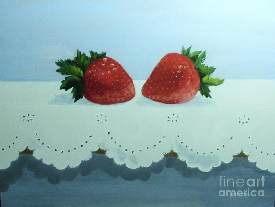 Strawberries Painting - Berries And Lace by Peggy Miller