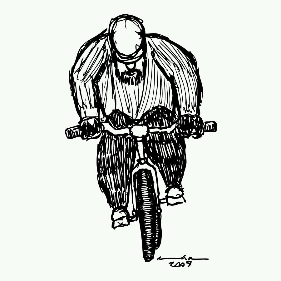 Biking Man Drawing  - Biking Man Fine Art Print