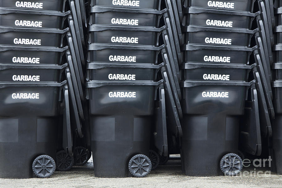 Black Garbage Bins Photograph