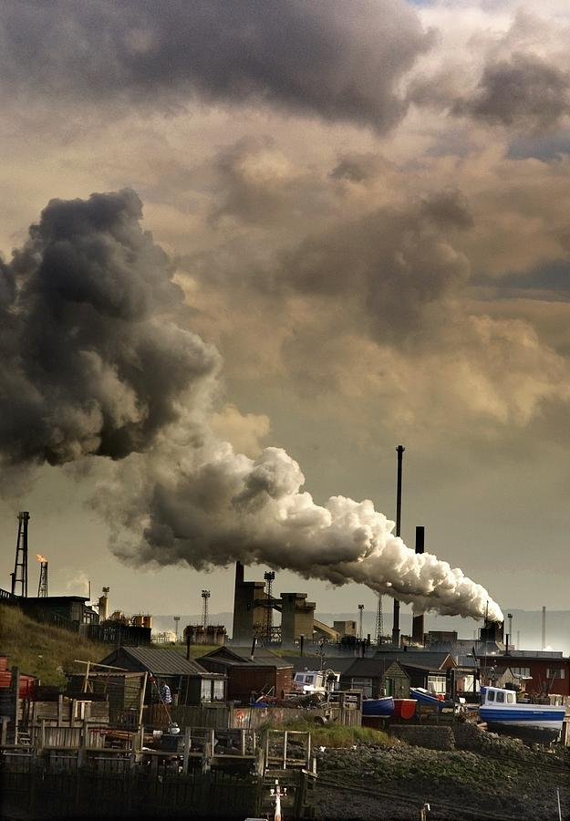 Black Smoke Emitting From Factory Photograph