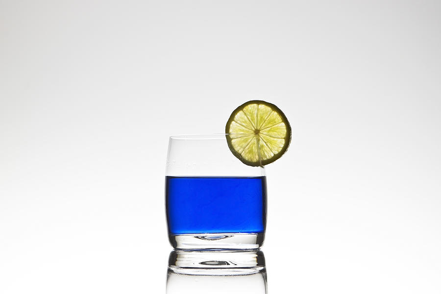 Blue Cocktail With Lemon Photograph