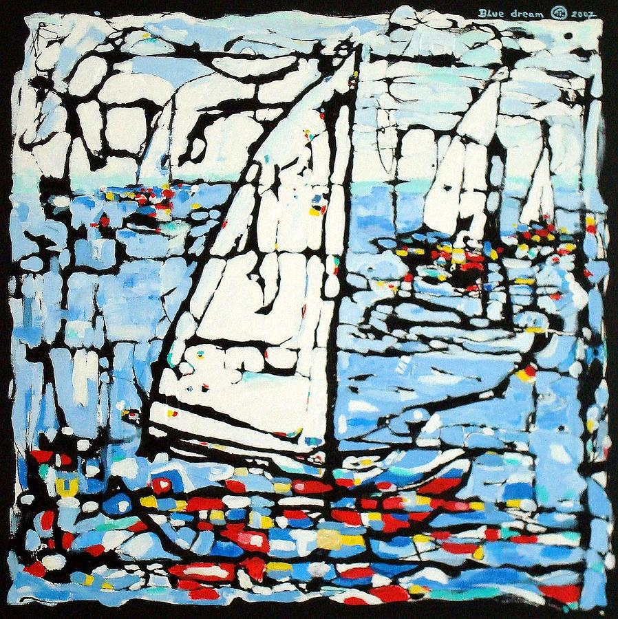 Abstract Modern Art  Boats Sea Waves Wind  Painting - Blue Dream by Paul Pulszartti