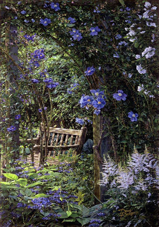 Blue Garden Respite Painting