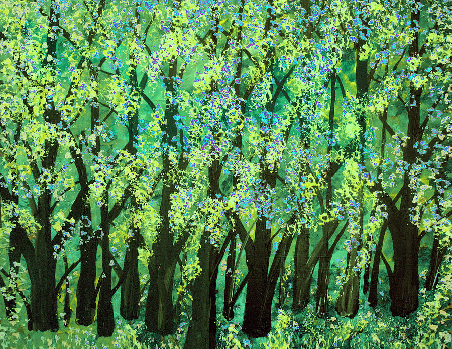 Blue Green Forest Painting