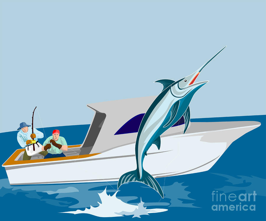 Blue Marlin Jumping Digital Art  - Blue Marlin Jumping Fine Art Print