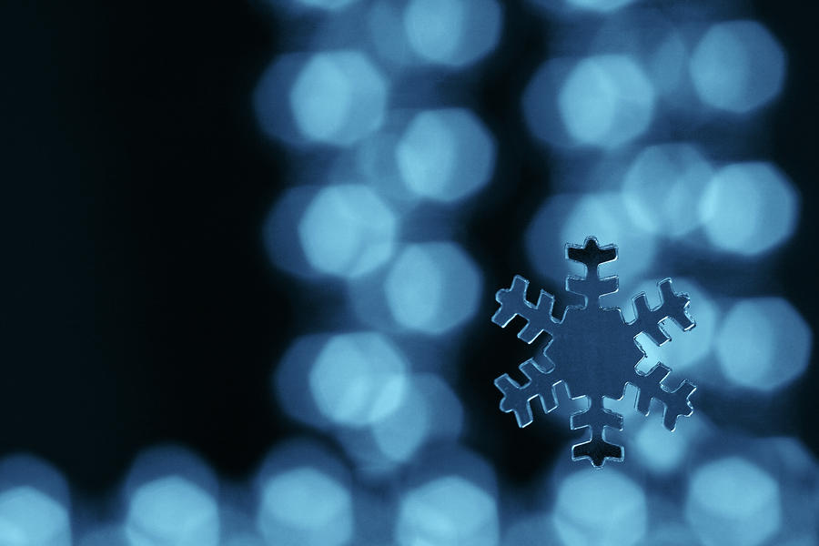 Blue Snowflake Photograph