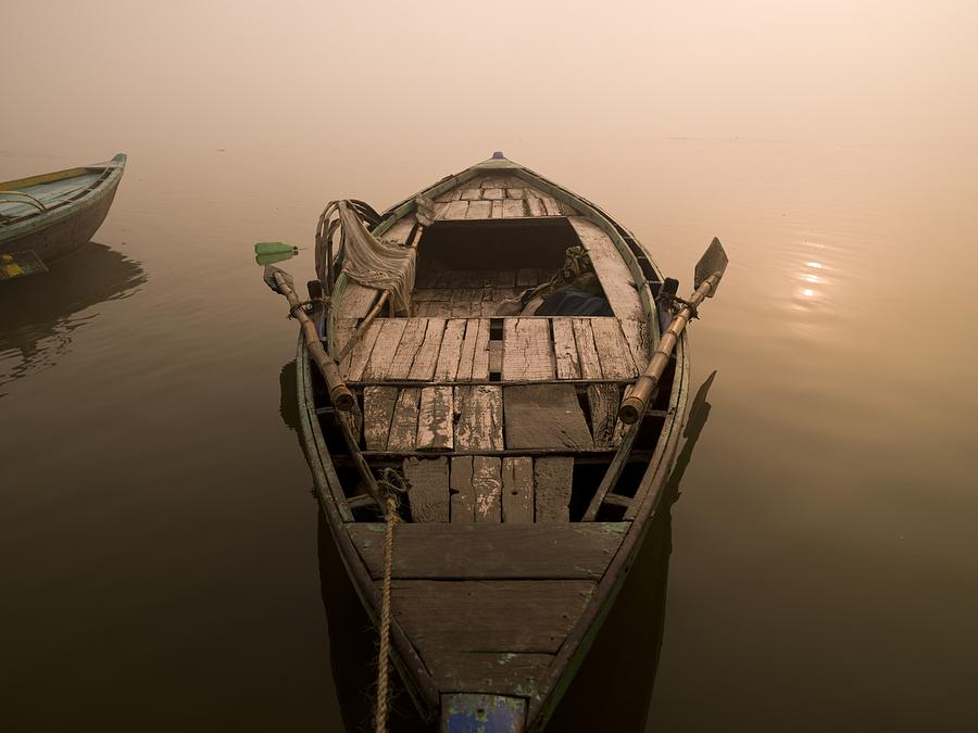 Boat In The Water, Varanasi, India Photograph