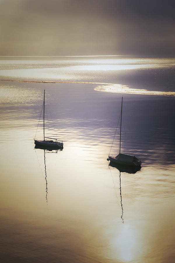 Boats In Mist Photograph